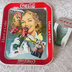Vintage Coca Cola Coke Various Items Metal Tray Fridge Magnets Drinking Glass