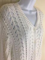 Eddie Bauer Loose Knit Cotton Button Down White Cardigan Sweater Women's Large