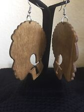 Ankh Head Africa Brown Earrings Wood Afrocentric