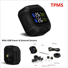 TPMS LCD Display Motorcycle Tire Pressure Monitoring System w/ External Sensors