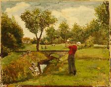 peinture huile sur toile -Golfeur en action -