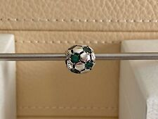 Authentic PANDORA Sterling Silver Green SOCCER BALL Charm 790444CZN RETIRED