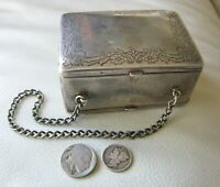 Antique German Silver Floral Compact Carryall Card Case 2 Sided Purse NB Co
