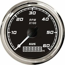 KUS Car Truck Tachometer Boat Outboard Rev Counter W/ LCD Hourmeter 0-6000 RPM
