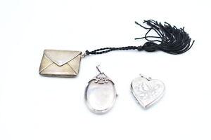 3 x Vintage .925 Sterling Silver LOCKETS inc. Stamp Holder, Heart, Foliate (28g)