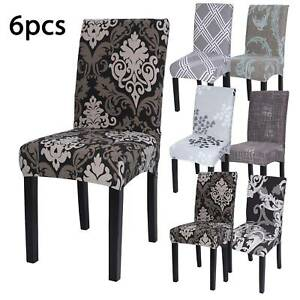 6PCS Stretch Dining Chair Covers Removable Slipcovers Wedding Banquet Decor
