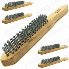 "4x HEAVY DUTY WIRE BRUSHES 11"" 4 Row Steel Bristles Large Paint Rust Cleaner Set"