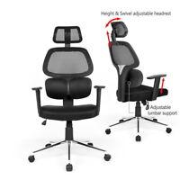 HOMYCASA Swivel Task Chair Flexible Dual Lumbar Support  High-Back Black Mesh