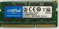 8GB  DDR3L-1600 SODIMM 1.35v CT102464BF160B Laptop Crucial New PC3L 12800