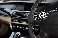 Per 2012+ FIAT 500l Volante in Pelle Perforata COPERCHIO GIALLO doppia cucitura