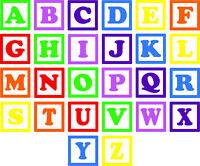 Alphabet Blocks Wall Decal Set kids stickers large childrens bedroom nursery