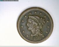 1850  Braided Hair Large Cent 1c old penny  ( 27-300 M6 )