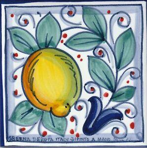 "Italian Ceramic Tile - Tuscan Lemon - Made in Deruta (4"" x 4"")"