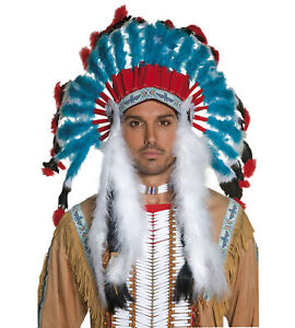 Native American Indian Chief Warrior Western Mens Costume Feathers Headdress