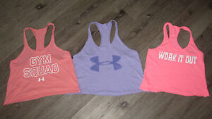 LOT WOMEN UNDER ARMOUR TANK TOPS CROPPED SIZE SMALL