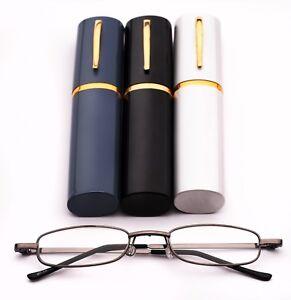 Pen Holder Grey Framed Pocket Reading Glasses with Clip on Case 3 Colours MT74