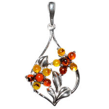 3g Authentic Baltic Amber 925 Sterling Silver Pendant Jewelry N-A327