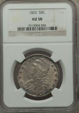 1825 NGC AU58 Silver 50c CAPPED BUST HALF DOLLAR... Great Strike and Nice Luster