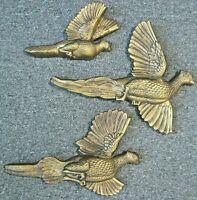 RARE Set 3 Miller Studio 1966 Pheasants Quail Game Birds Gold Chalkware Wall Art