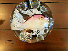 Signed GINO CENEDESE Murano Magnum Controlled Bubble Pink Fish Paperweight 1992