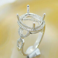 10x12mm Oval Cut Solid 14kt White Gold Semi Mount Natural Diamond Ring
