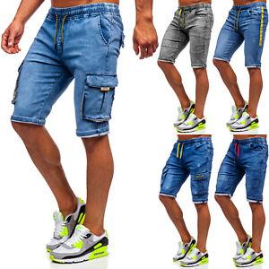Jeans Shorts Hose Bermudas Kurzhose Kurze Denim Cargo Herren Mix BOLF Unifarben