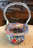 Beautiful Hand Blown Murano Glass Italy Small flower Bucket Vase Art Deco Unused