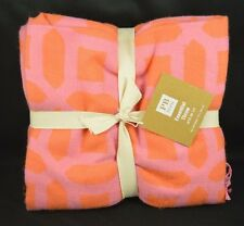 "POTTERY BARN TEEN ESSENTIAL ABSTRACT THROW BLANKET ORANGE & PINK 50 X 60"" #19"