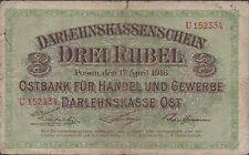 Germany  3 Rubel  R 123a   17.4.1916  Prefix U Circulated Banknote ,Rare