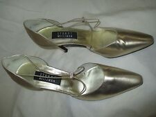 STUART WEITZMAN+GOLD+SIZE8.5AA+TWICE' d'ORSAY+PUMP+MADE IN SPAIN+LEATHER UPPER