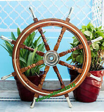 "36"" Nautical Collectible Marine Wooden Steering Ship Wheel Brass Pirate Wheel"