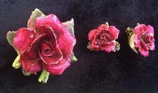 Vintage Staffordshire England Crown Pink Rose Pin / Brooch & Earrings