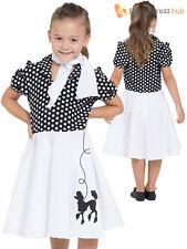 Poodle Dress Chld Blk/whte Spot 128cm - Child Girls Black White Fancy Costume