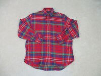 Nautica Button Up Shirt Adult Medium Red Blue Sailing Long Sleeve Mens 90s A12