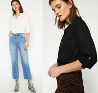 WAREHOUSE NEW Black & White Roll Up Sleeve Shirt Top Sizes 6 to 18