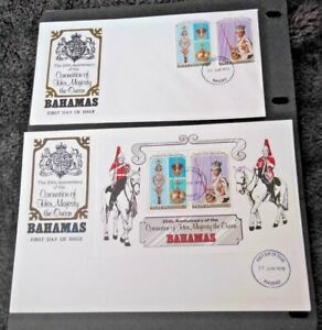 Bahamas 1978 25th Anniversary of the Coronation Set & Miniature Sheet FDCs