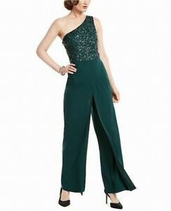 Adrianna Papell Women's Jumpsuit Green Size 6P Petite One Shoulder $299- #246