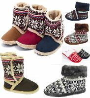 Mens/Womens Fairisle Coolers Ladies Slippers Red Brown Tan Navy Slip On High Top