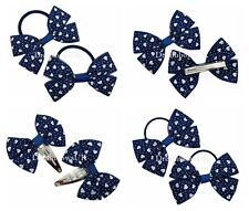 Navy blue and white hearts design organza hair accessories Bobbles or clips
