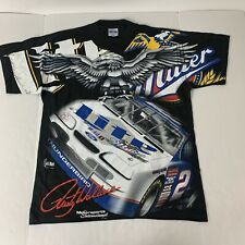 Vtg Rare DS NASCAR #2 Rusty Wallace Black Magic All Over Print T Shirt. Mens L