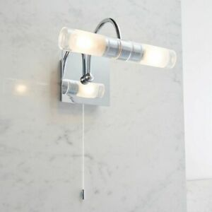 ENDON SHORE 2X33W G9 Bathroom Wall Light Chrome Plate Clear & Frosted Glass IP44