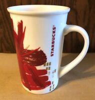 NEW STARBUCKS CHRISTMAS POINSETTIA FLOWER TALL COFFEE MUG RED & GOLD 2014 12 OZ