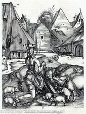 Antique print :Parable of the Prodigal Son / After Albert Durer 1855