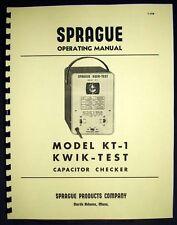 SPRAGUE Kwik-Test KT-1 KT1 Capacitor Checker Manual