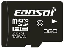 EANSDI 8GB TF Flash Memory Card Micro SD SDHC Class 6 Retail Package & Adapter