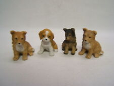 Homco Bisque 1 Beagle, 1 German Shepherd & 2 Collie Puppies Figurines Vgc
