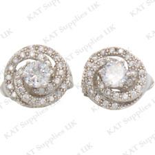 CLIP ON Earrings Silver Rhinestone Fake Studs Stud Ear Non Pierced Womens #30