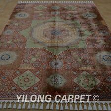 YILONG 5.6'x8.4' Hand Knotted Silk Rug Orange Home Indoor Carpet 1822
