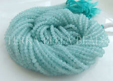 """13"""" strand sky blue CHALCEDONY faceted gem stone rondelle beads 3mm"""