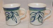 Signed Studio Pottery Off White Leaves Three Tone Color 2 Coffee Mug Cup Set (B)